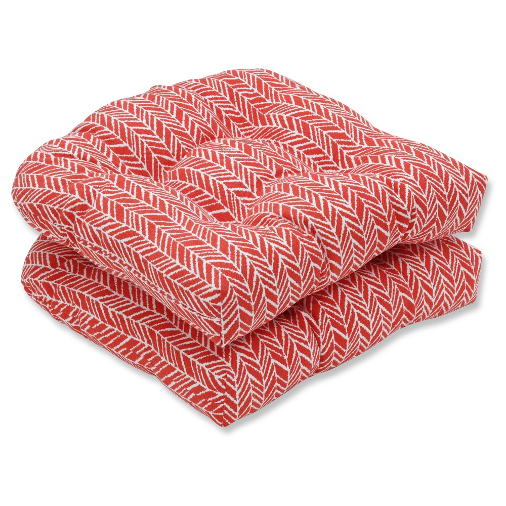 Outdoor/Indoor Herringbone Red Wicker Seat Cushion Set of 2 - Pillow Perfect