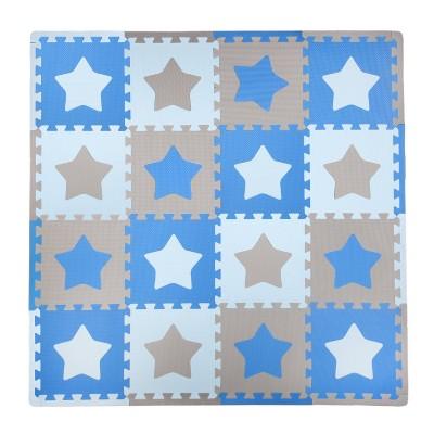Tadpole Mat 16 Piece - Stars (Blue/Brown)