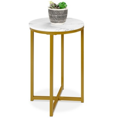 Best Choice Products 16in Faux Marble Modern Round Living Room Accent Side Table w/ Metal Frame