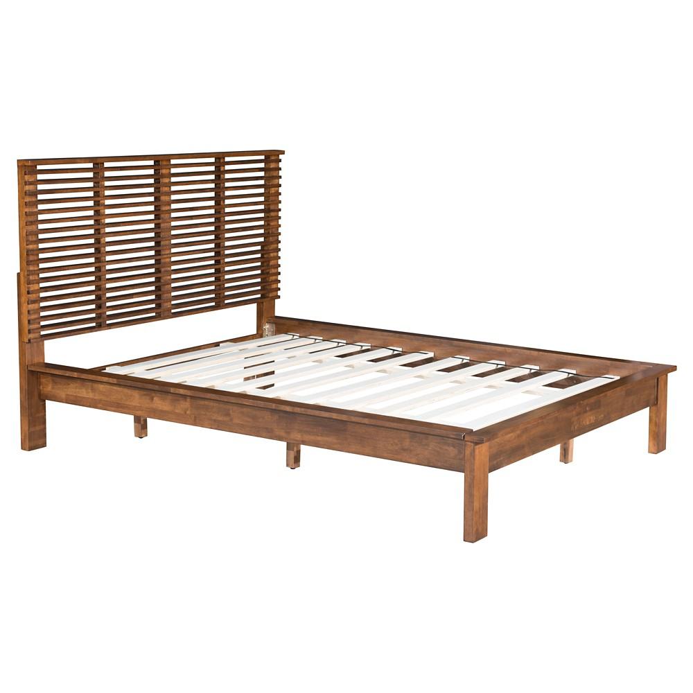 Mid-Century Modern King Platform Bed - Walnut - ZM Home, Brown