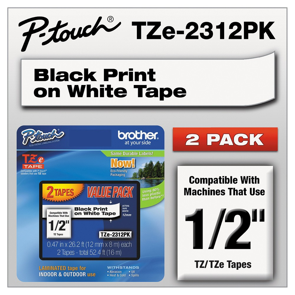 Brother P - Touch TZe Standard Adhesive Laminated Labeling Tapes - 1/2w - Black/White (2 pk)