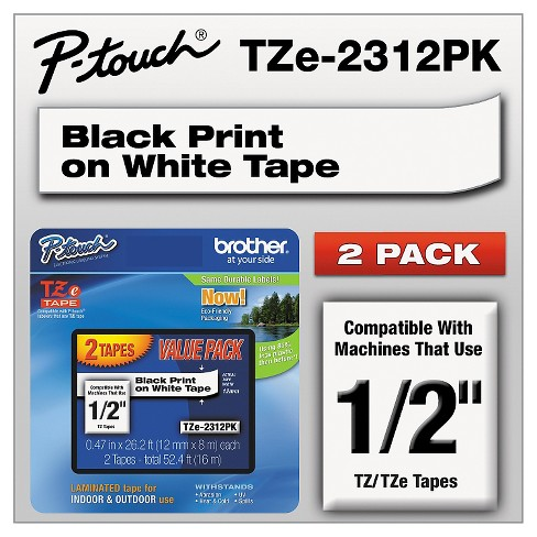 Brother P - Touch TZe Standard Adhesive Laminated Labeling Tapes - 1/2w - Black/White (2 pk) - image 1 of 1