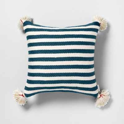 Outdoor Toss Pillow Blue Stripe with Tassels - Hearth & Hand™ with Magnolia