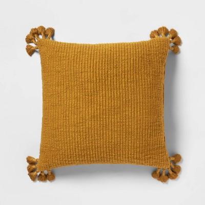 Euro Chunky Woven Tassel Throw Pillow Saffron - Opalhouse™