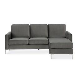 Chapman Velvet Sectional Sofa with Chrome Legs Gray - Novogratz