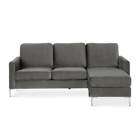 Chapman Velvet Sectional Sofa with Chrome Legs - Novogratz - image 1 of 7
