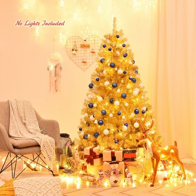 Costway 6ft Artificial Tinsel Christmas Tree Hinged w/1036 Tips Foldable Stand Champagne