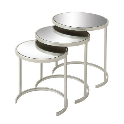Set of 3 Contemporary Tin Accent Tables Silver - Olivia & May