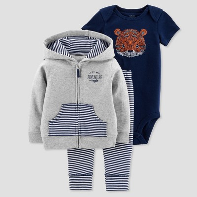 Baby Boys' 3pc Tiger Cardigan Set - Just One You® made by carter's Orange Newborn