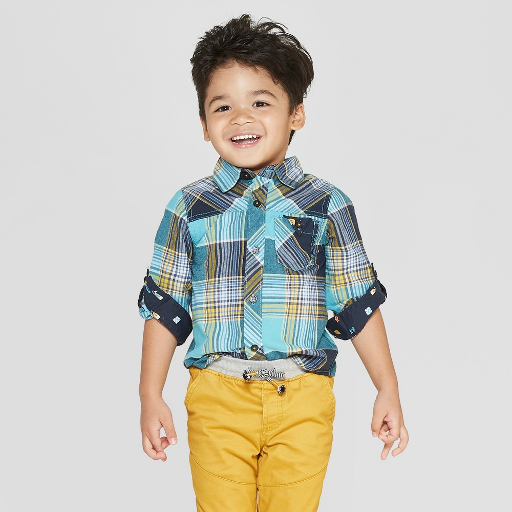Image of Genuine Kids from OshKosh Toddler Boys' Long Sleeve Twin Print Plaid Woven Button-Down Shirt - Teal 12M, Toddler Boy's, Blue