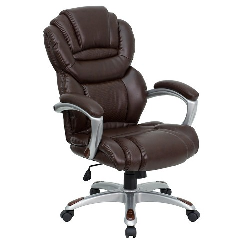 Executive Swivel Office Chair Brown Leather - Flash Furniture - image 1 of 4