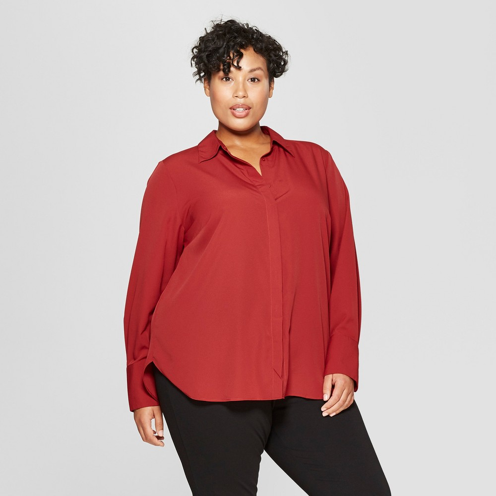 Women's Plus Size Long Sleeve Collared Button-Down Blouse - Prologue Red 2X
