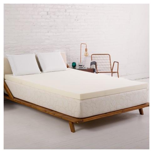 2 Memory Foam Mattress Topper Beige Authentic Comfort