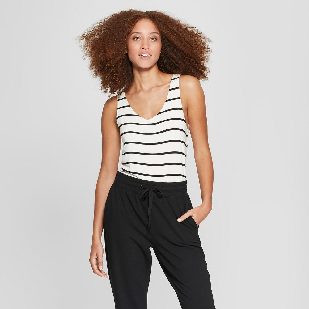 Women's Striped V-Neck Tank Top - A New Day White/Black XL, Black White
