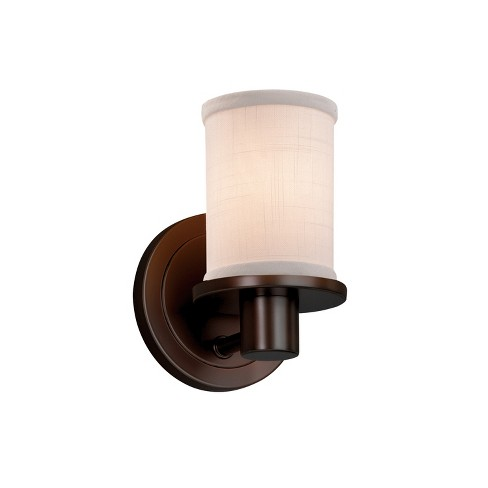 "Justice Design Group FAB-8511-10-WHTE-LED1-700 Textile 5.25"" Rondo 1 Light LED Wall Sconce - image 1 of 1"