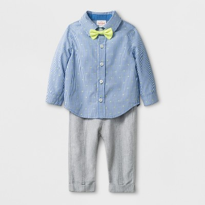 Baby Boys' 3pc Long Sleeve Button-Down Shirt, Bow Tie, and Trouser - Cat & Jack™ Light Blue 6-9M