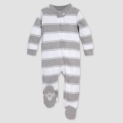 Burt's Bees Baby® Rugby Striped Organic Cotton Sleep N' Play - Heather Gray 3-6M