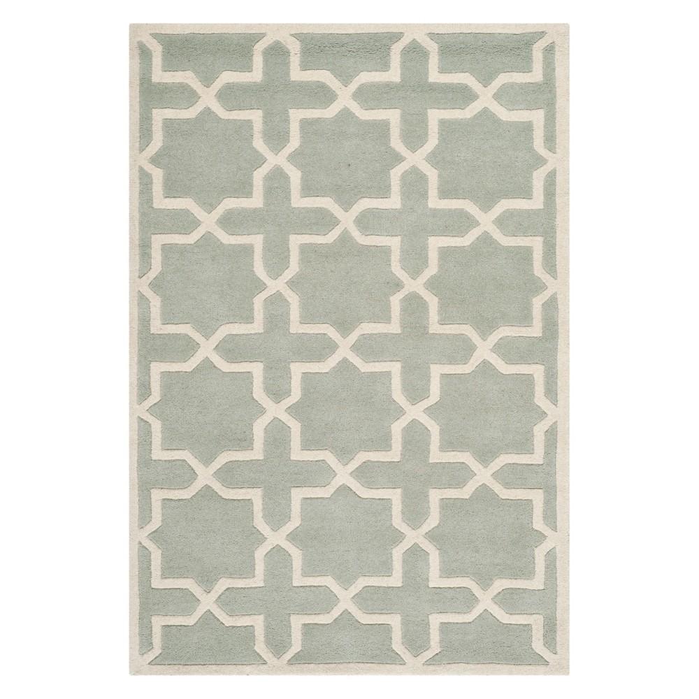 4'X6' Quatrefoil Design Tufted Area Rug Gray/Ivory - Safavieh