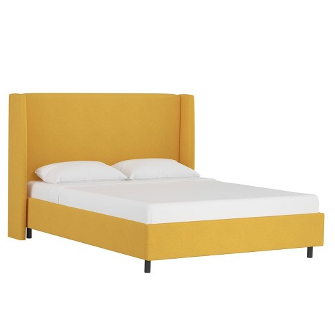 Twin Platform Wingback Bed Linen French Yellow - Skyline Furniture - image 1 of 4