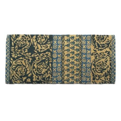 """TAG 1'6"""" x 3'3"""" Neela Block Print Estate Coir Doormat Indoor Outdoor Welcome Mat Jacobean Floral - image 1 of 4"""