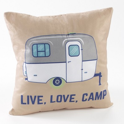 Lakeside Live Love Camp Accent Pillow - Couch Throw Cushion for RVs, Camper Trailers