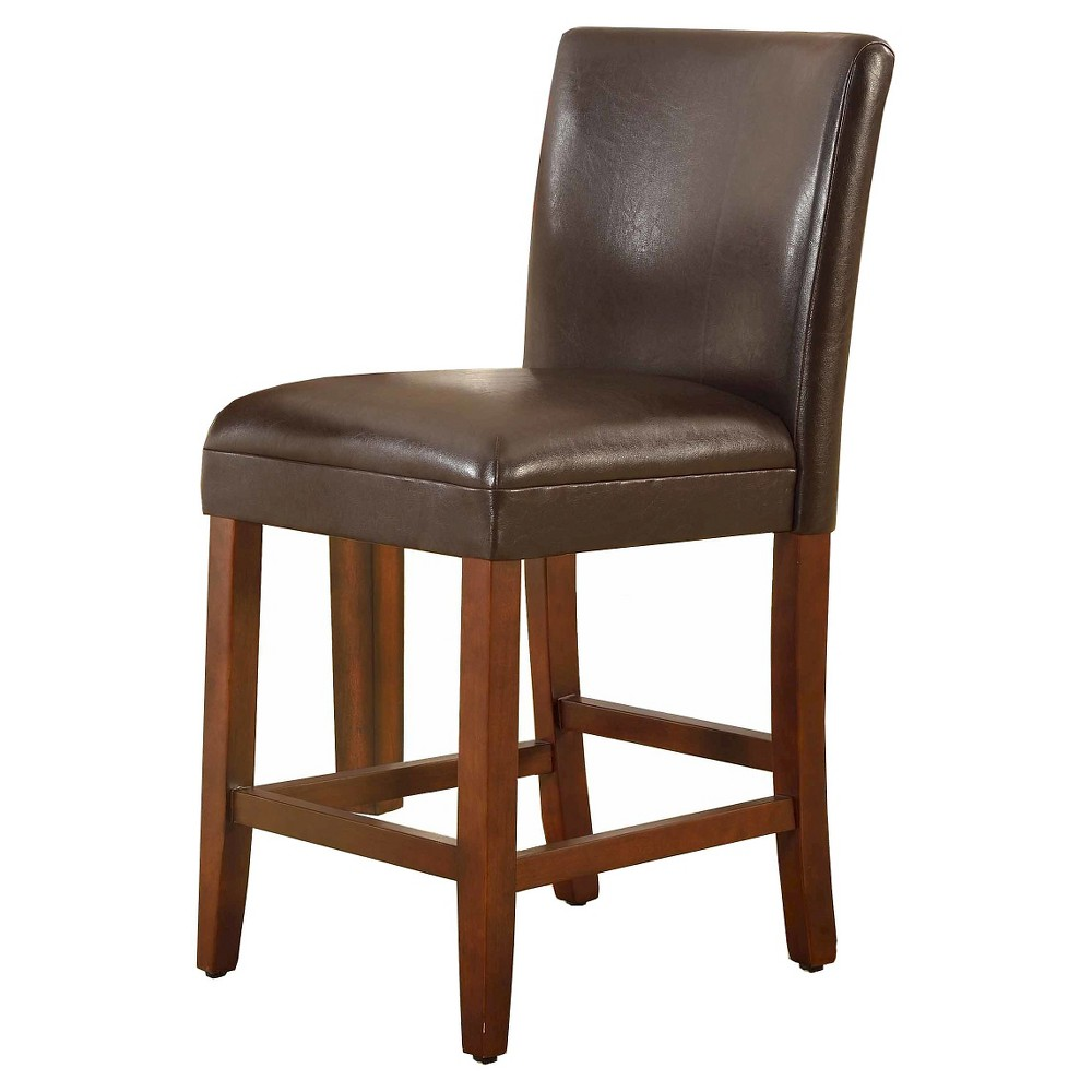 "Image of ""Faux Leather Counter Stool - 24""""- Brown - HomePop"""