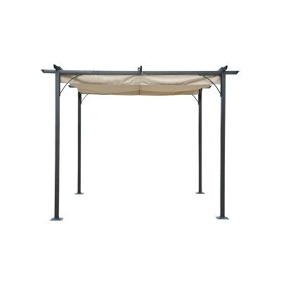 10' Retractable Roman Shade Pergola Canopy - Blue Wave