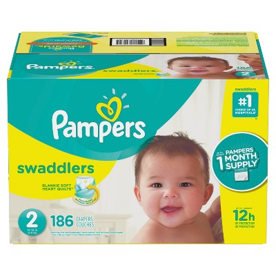 Pampers Swaddlers Disposable Diapers One Month Supply - Size 2 (186ct)