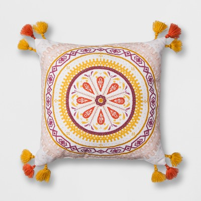 White Print Medallion Square Throw Pillow (16 x16 )- Opalhouse™