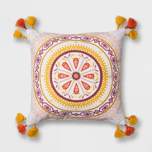 "White Print Medallion Square Throw Pillow (16""x16"") - Opalhouse™ - image 1 of 3"