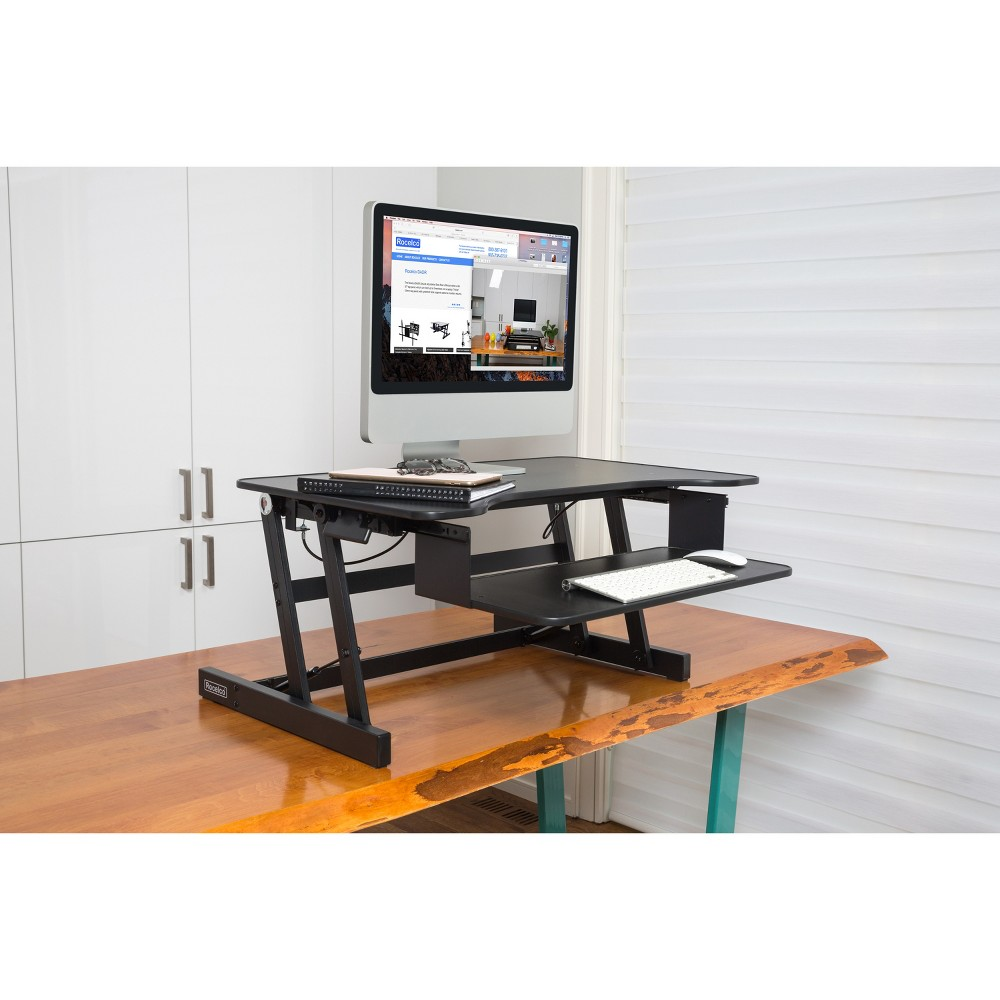 Basic Height Adjustable Sit to Stand Desk Computer Riser, Black