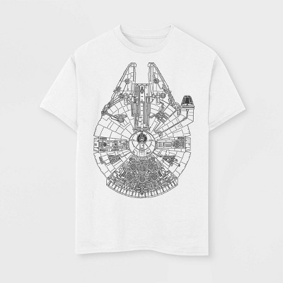 Boys' Star Wars Line Art Falcon T-Shirt - White