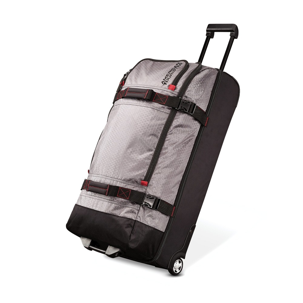 "Image of ""American Tourister 30"""" Aeropack Wheeled Duffel Bag - Charcoal/Red, Size: Large, Gray"""