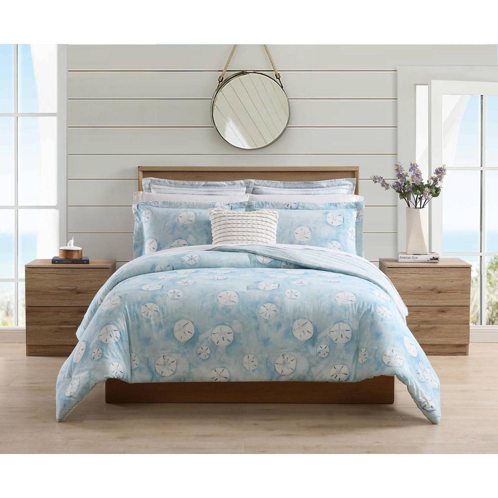 Full Queen Seaside Sand Dollar Comforter Sham Bonus Set Blue Poppy 38 Fritz