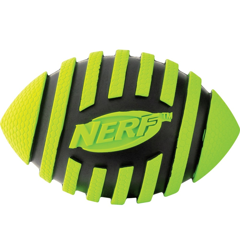 Nerf Rubber Squeak Football Dog Toy, Green