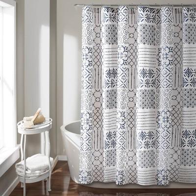 Color Block Shower Curtain Blue - Lush Décor
