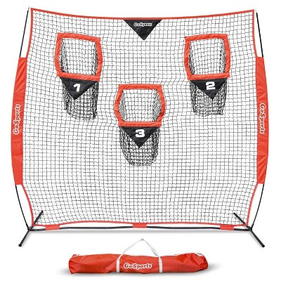 GoSports 8 X 8 Foot Foldable Reinforced Steel Bow Frame 3 Pocket Quarterback Accuracy Football Training Net with Portable Carrying Bag