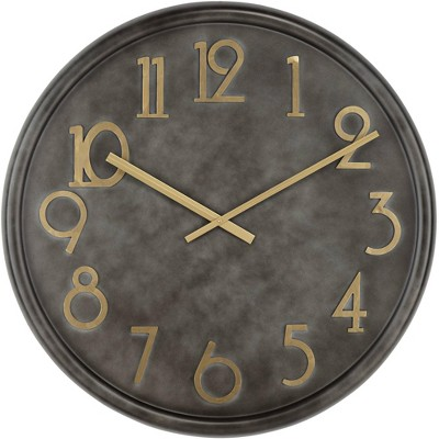 "River Parks Studio Parker 35 3/4"" Wide Black Metal Wall Clock with Gold Numbers"