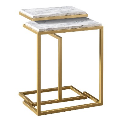 Kircubbin Nesting Table with Faux Marble Top - miBasics