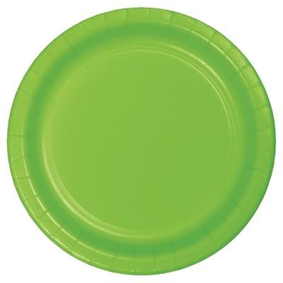 "Fresh Lime Green 7"" Dessert Plates - 24ct"