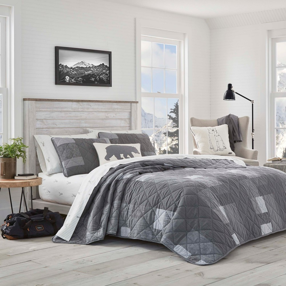 Image of Eddie Bauer Full/Queen Swiftwater Quilt Set Gray