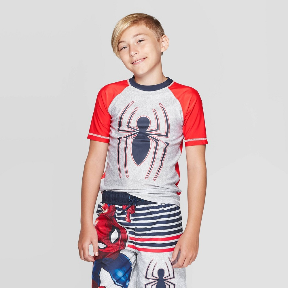 Image of Boys' Spider-Man Rash Guard Swim Shirt - Red L, Boy's, Size: Large