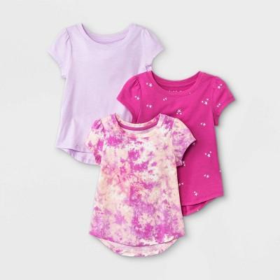 Toddler Girls' 3pk Star Sparkle Tie-Dye Short Sleeve T-Shirt - Cat & Jack™ Pink/Purple