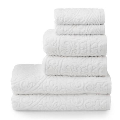 6pc Cameron Sculpted Bath Towel Set White - Martha Stewart