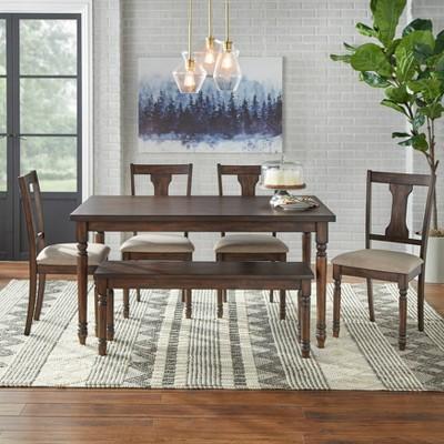 Set of 6 Barish Burntwood Dining Set with Bench Dark Oak - Buylateral