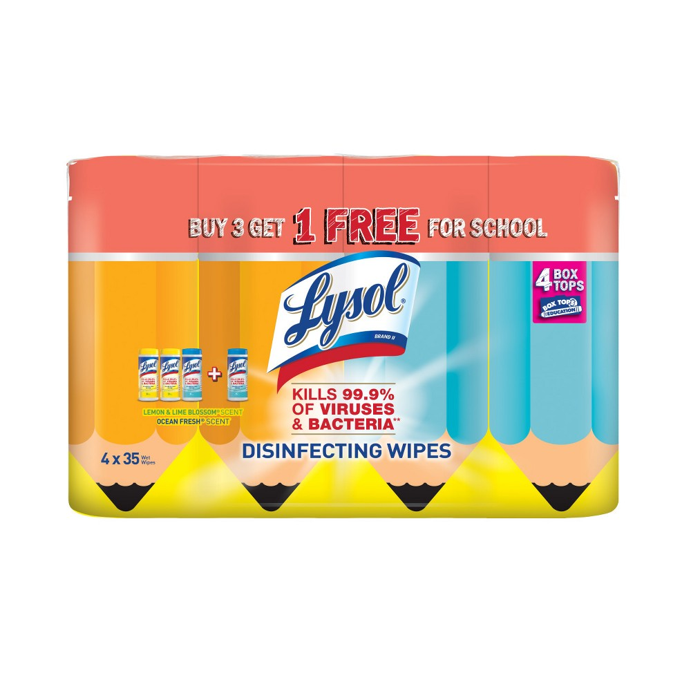Lysol Lemon and Lime Blossom Scented & Ocean Fresh Scented Wipes - 140ct, White Lysol Disinfecting Wipes eliminate cold and flu viruses, helping to keep surfaces healthy year-round. Lysol Disinfecting Wipes can be used as a convenient way to clean and disinfect your household surfaces. Each pre-moistened disposable wipe kills germs** wherever you use it, even suitable to use on wood. No bottles, no sponges, no mess. **Kills Salmonella Enterica (Salmonella), Influenza A Virus Herpes Simplex Virus Type 1 and Respiratory Syncytial Virus on hard, non porous surfaces in 10 minutes. Kills 99.9 percent of Viruses and Bacteria. Removes more than 95 percent of allergens (Pet Dander, Dust Mite Debris and Pollen Particles). Lysol Disninfecting Wipes are also safe to use on electronics including Smartphones, Tablets and Remote Controls. Color: White.