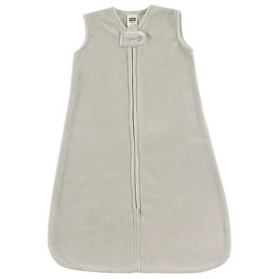 Hudson Baby Unisex Baby Plush Sleeping Bag Sack Blanket - Solid Light Gray Fleece 12-18M