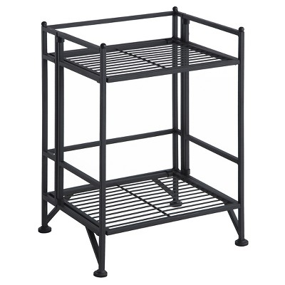 "20.25"" 2 Tier Folding Metal Shelf Black - Breighton Home"