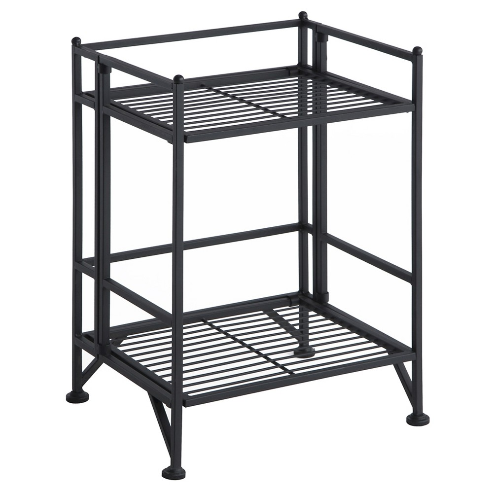 Image of 20.5 2 Tier Folding Metal Shelf - Convenience Concepts, Black