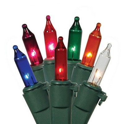 Vickerman 100ct Mini String Lights Multi-Color - 33.5' Green Wire